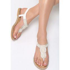 Białe Sandały International Rescue. Białe rzymianki damskie Born2be, z materiału, na obcasie. Za 59,99 zł.