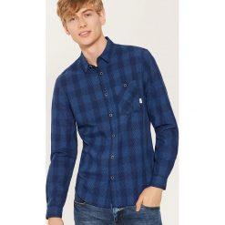 Koszula w kratę i mikrowzór - Niebieski. Szare koszule męskie marki House, l, z bawełny. Za 79,99 zł.