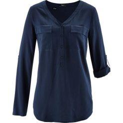 Bluzki damskie: Bluzka z wiskozy, długi rękaw bonprix ciemnoniebieski