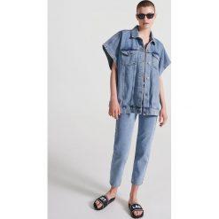 Swetry damskie: Jeansowa kamizelka - Niebieski