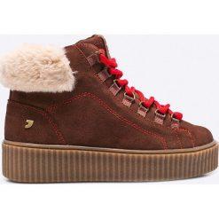 Gioseppo - Botki. Brązowe buty zimowe damskie Gioseppo, z materiału, na obcasie, na sznurówki. W wyprzedaży za 179,90 zł.