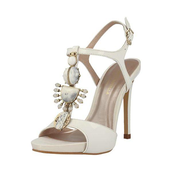 efc57d6b40dd82 Skórzane sandały w kolorze kremowym - Białe sandały damskie Roberto ...