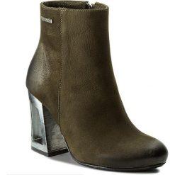 Botki R.POLAŃSKI - 0894 Oliwka Nubuk. Czarne buty zimowe damskie marki R.Polański, ze skóry, na obcasie. W wyprzedaży za 279,00 zł.