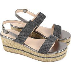 Sandały damskie: Sandały w kolorze srebrno-szarym