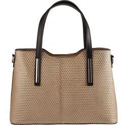 Torebki klasyczne damskie: Skórzana torebka w kolorze beżowym – 32 x 22 x 12 cm