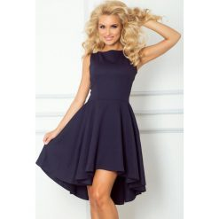 Monica Ekskluzywna sukienka z dłuższym tyłem - Granatowa. Niebieskie sukienki hiszpanki numoco. Za 159,99 zł.