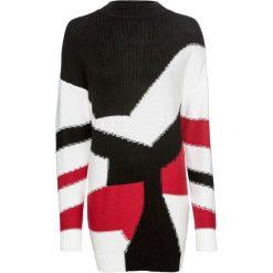 Swetry klasyczne damskie: Sweter dzianinowy z efektem patchworkowego wzoru bonprix czarno-biel wełny - czerwony wzorzysty