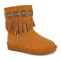Skórzane botki w kolorze jasnobrązowym. Brązowe buty zimowe damskie Carla Samuel, na zimę. W wyprzedaży za 259,95 zł.