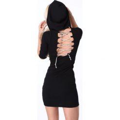 Sukienki hiszpanki: Sukienka z wiązaniem i kapturem czarna 62671