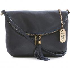 Skórzana torebka w kolorze granatowym - 22 x 18 x 2 cm. Niebieskie torebki klasyczne damskie Anna Morellini, z aplikacjami, z materiału. W wyprzedaży za 173,95 zł.
