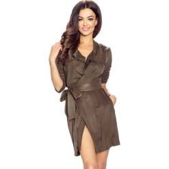Płaszcze damskie: Khaki Płaszcz bez Zapięcia z Wiązanym Paskiem