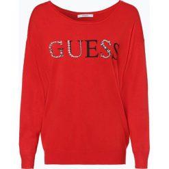 Guess Jeans - Sweter damski, biały. Szare swetry klasyczne damskie marki Guess Jeans, na co dzień, l, z aplikacjami, z bawełny, casualowe, z okrągłym kołnierzem, mini, dopasowane. Za 309,95 zł.