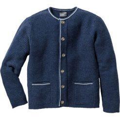 Swetry klasyczne męskie: Sweter rozpinany w ludowym stylu Regular Fit bonprix ciemnoniebieski melanż