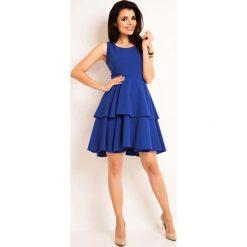 Niebieska Elegancka Rozkloszowana Sukienka z Baskinką. Niebieskie sukienki balowe marki Molly.pl, do pracy, l, baskinki. Za 129,90 zł.