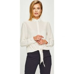 Answear - Koszula. Szare koszule wiązane damskie marki ANSWEAR, l, z elastanu, klasyczne, z klasycznym kołnierzykiem, z długim rękawem. Za 89,90 zł.