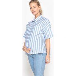 Bluzka ciążowa w paski z plisą na plecach. Niebieskie bluzki koszulowe marki La Redoute Collections, w paski, z poliamidu, moda ciążowa, z krótkim rękawem. Za 141,08 zł.