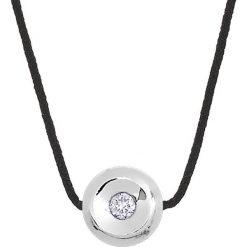 Naszyjniki damskie: Naszyjnik w kolorze czarnym z diamentami – dł. 42 cm