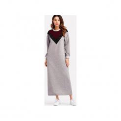 Szara sukienka bluzowa maxi z wzorem V. Szare długie sukienki marki Bien fashion, xl, w kolorowe wzory. Za 109,00 zł.