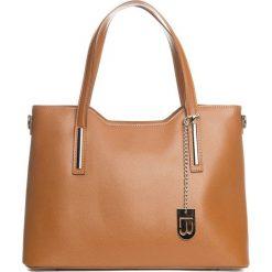 Torebki klasyczne damskie: Skórzany shopper bag w kolorze jasnobrązowym – 45 x 37 x 16 cm