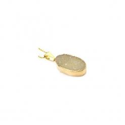 Naszyjnik Agat Druza Beż złoto. Brązowe naszyjniki damskie Brazi druse jewelry, pozłacane. Za 170,00 zł.