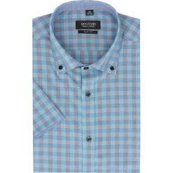 Koszula bexley 2304 krótki rękaw slim fit niebieski. Niebieskie koszule męskie jeansowe marki Recman, na lato, l, w kratkę, button down, z krótkim rękawem. Za 29,99 zł.