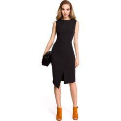 Czarna Wyjściowa Dopasowana Sukienka z Asymetrycznym Rozporkiem. Niebieskie sukienki asymetryczne marki bonprix, z nadrukiem, na ramiączkach. Za 129,90 zł.
