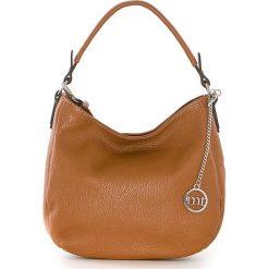Shopper bag damskie: Skórzana torebka w kolorze jasnobrązowym – 30 x 20 x 8 cm
