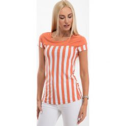 Bluzka w pionowe paski pomarańczowa. Czarne bluzki damskie marki Fasardi, m, z dresówki. Za 19,00 zł.
