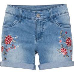 Szorty damskie: Szorty dżinsowe z haftem bonprix niebieski bleached