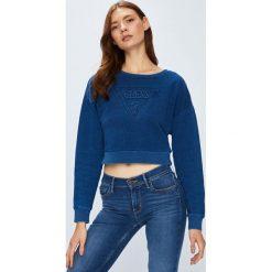 Guess Jeans - Bluza. Niebieskie bluzy z nadrukiem damskie marki Guess Jeans, l, z bawełny, bez kaptura. W wyprzedaży za 319,90 zł.