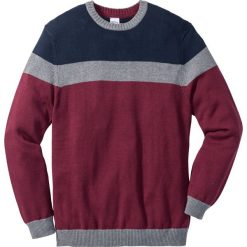 Sweter Regular Fit bonprix niebiesko-szaro-czerwony. Fioletowe swetry klasyczne męskie marki bonprix, l, w paski. Za 89,99 zł.