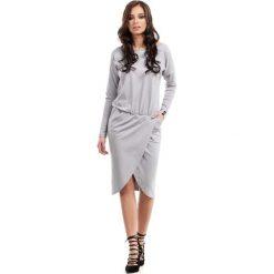 Sukienki: Szara Sukienka Dzianinowa z Kopertowym Dołem