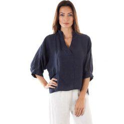 Odzież damska: Lniana tunika w kolorze granatowym