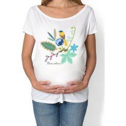 Koszulka damska, ciążowa. kwiaty i ptaki. Szare bluzki ciążowe Pakamera, w kwiaty. Za 89,00 zł.