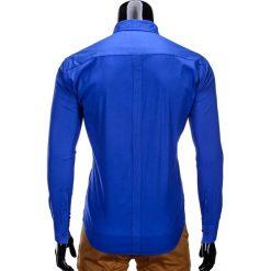 KOSZULA MĘSKA Z DŁUGIM RĘKAWEM K207 - NIEBIESKA. Brązowe koszule męskie marki Ombre Clothing, m, z aplikacjami, z kontrastowym kołnierzykiem, z długim rękawem. Za 49,00 zł.