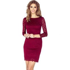 Bordowa Koronkowa Sukienka Bodycon. Różowe sukienki balowe marki numoco, l, z dekoltem w łódkę, oversize. Za 199,90 zł.