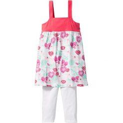 Sukienka + legginsy 3/4 (2 części) bonprix biało-jasnoróżowy z nadrukiem. Białe legginsy dziewczęce bonprix, na lato, w kolorowe wzory, eleganckie. Za 24,99 zł.