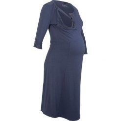 Sukienka shirtowa ciążowa i do karmienia bonprix indygo. Niebieskie sukienki ciążowe marki bonprix, z nadrukiem. Za 79,99 zł.