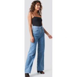 MANGO Szerokie jeansy Romantic - Blue. Niebieskie jeansy damskie Mango, z podwyższonym stanem. Za 202,95 zł.