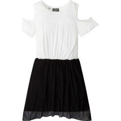 Sukienki dziewczęce: Sukienka z wycięciami na ramionach bonprix czarno-biel wełny
