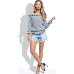 Swetry damskie: Szary Sweter z Dekoltem Typu Carmen