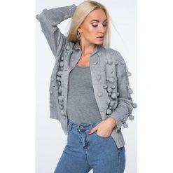 Swetry rozpinane damskie: Sweter z pomponami szary MISC232