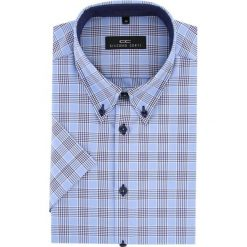 Koszula 15-11-41-K SERGIO slim. Niebieskie koszule męskie na spinki marki bonprix, m, z nadrukiem, z klasycznym kołnierzykiem, z długim rękawem. Za 229,00 zł.