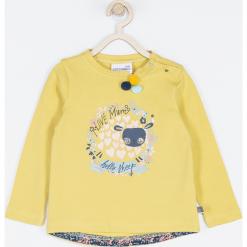 Koszulka. Żółte bluzki dziewczęce bawełniane MUMMY SHEEP, z aplikacjami, z długim rękawem. Za 42,90 zł.