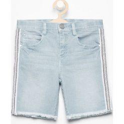 Szorty damskie: Jeansowe szorty z lampasami – Niebieski