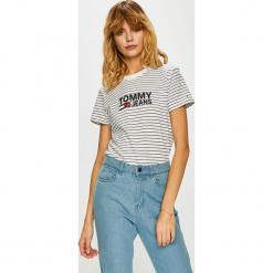Tommy Jeans - Top. Szare topy damskie marki Tommy Jeans, l, z nadrukiem, z bawełny, z okrągłym kołnierzem. Za 179,90 zł.