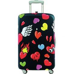 Pokrowiec na walizkę LOQI Pop Hearts. Czarne walizki LOQI, z elastanu. Za 114,00 zł.