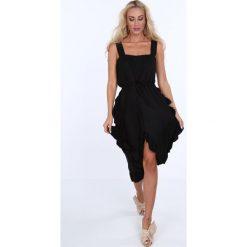 Sukienka z falbanami wiązana czarna 22369. Czarne sukienki Fasardi. Za 69,00 zł.