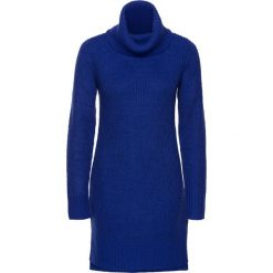Długi sweter dzianinowy bonprix szafirowy. Niebieskie golfy damskie bonprix, z dzianiny, z długim rękawem. Za 89,99 zł.