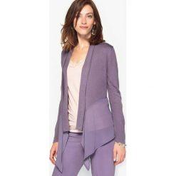 Fantazyjny, rozpinany sweter, dół z woalu. Różowe swetry rozpinane damskie Anne weyburn, z dżerseju. Za 115,46 zł.
